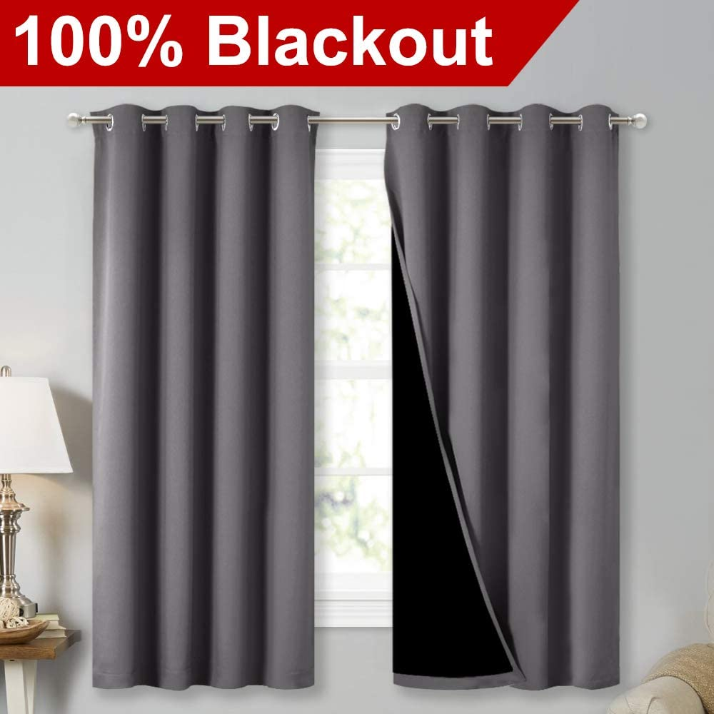NICETOWN Blackout Lined Curtain grey