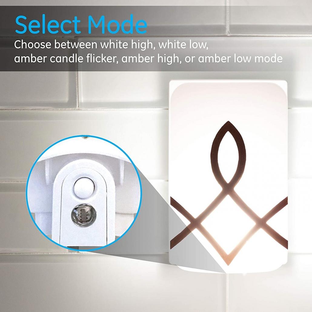 GE SleepLite LED Candle Glow feature