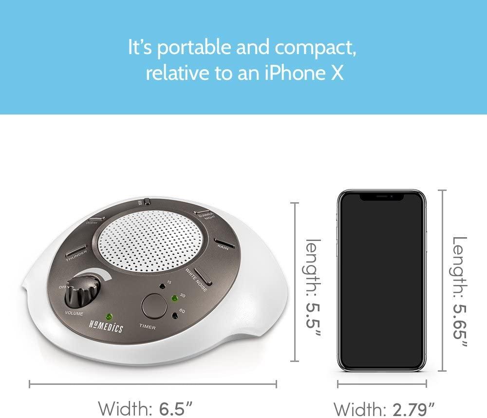 HoMedics White Noise Sound Machine size