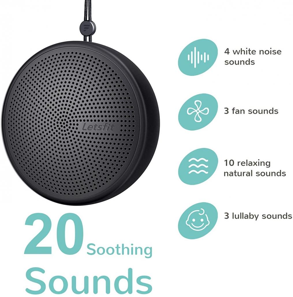 Letsfit Portable White Noise Machine features