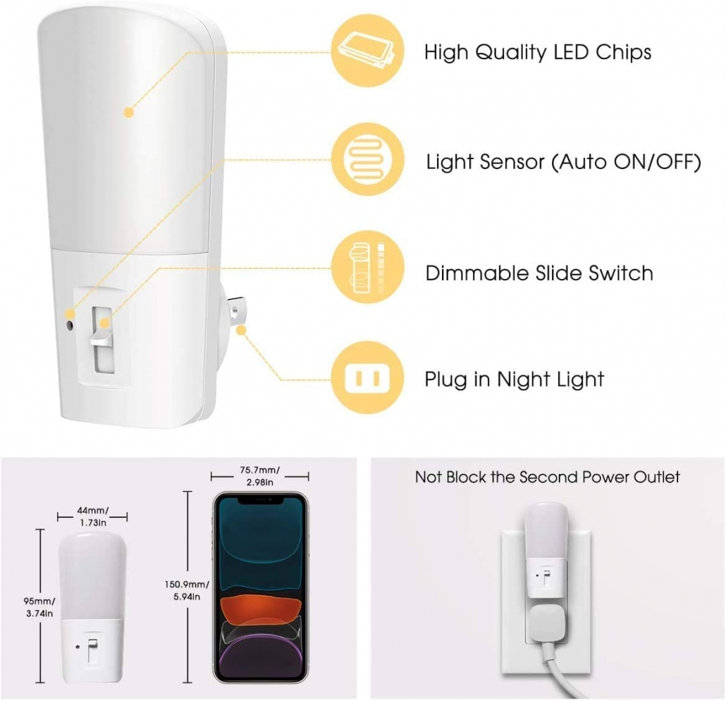 LOHAS Plug in Night Light features